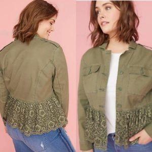 Lane bryant lace olive green peplum utility jacket